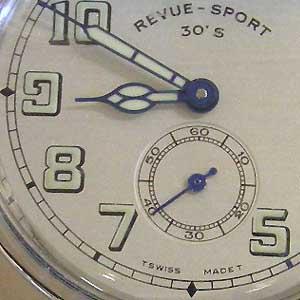 レビュートーメンスポーツ 腕時計 30's Ref.15000.3132 正面拡大実物写真
